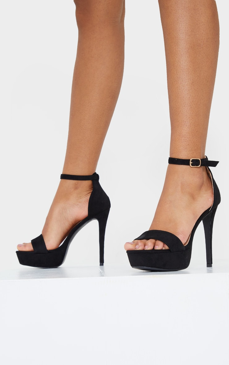 Black Faux Suede Platform Heeled Sandals 1