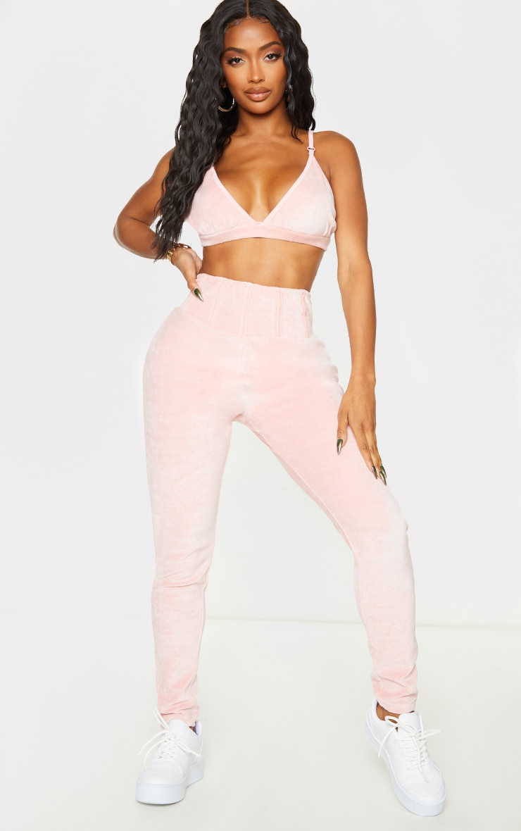 Shape Baby Pink Velour Triangle Bralet 3