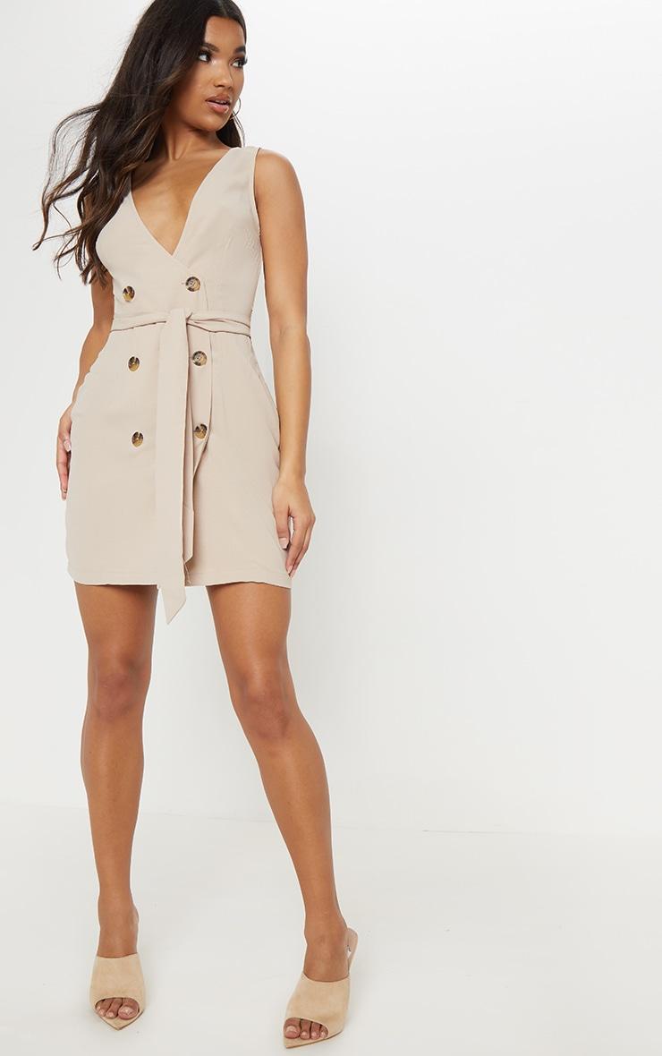 Beige Button Front Sleeveless Blazer Dress 4