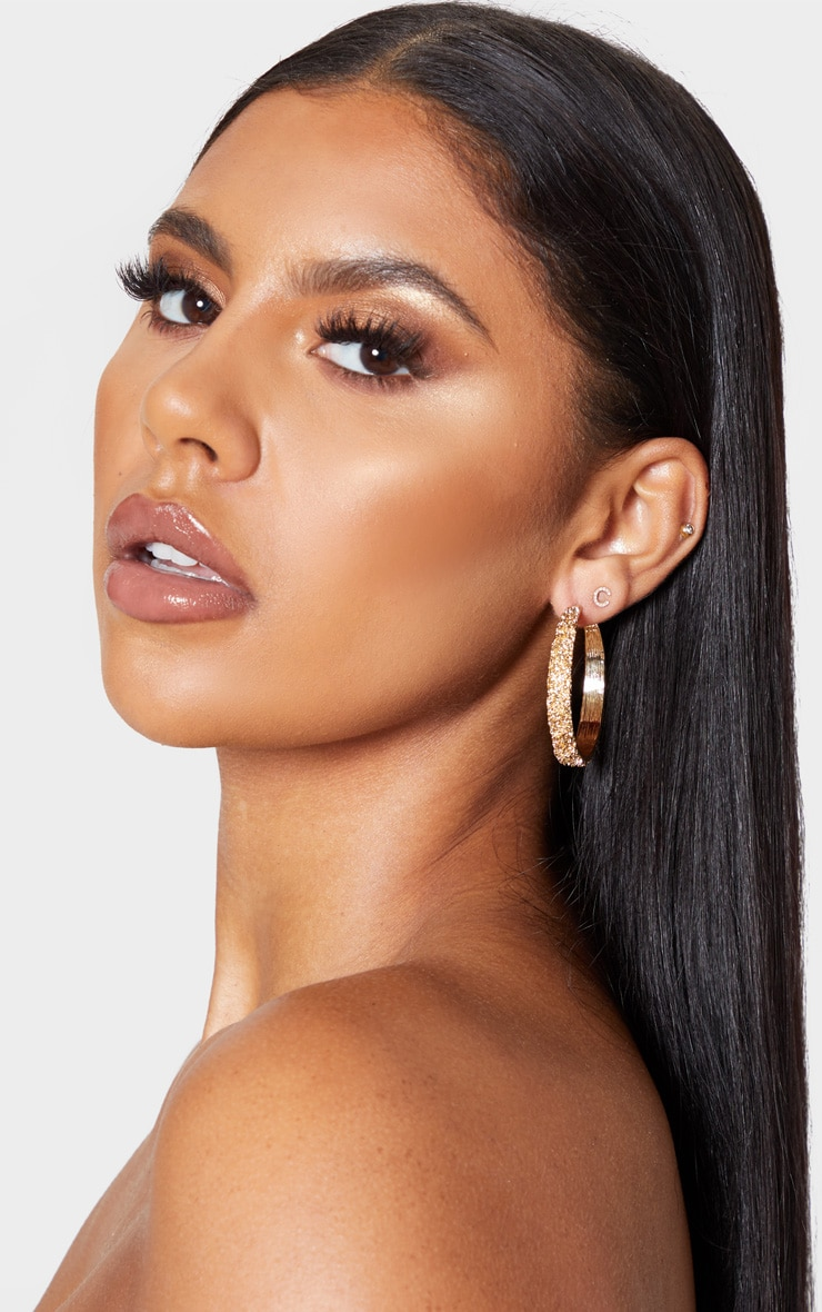 Gold Textured Medium Size Hoop Earrings 1