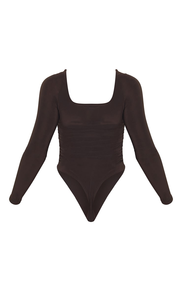 Chocolate Slinky Ruched Long Sleeve Square Neck Bodysuit 6