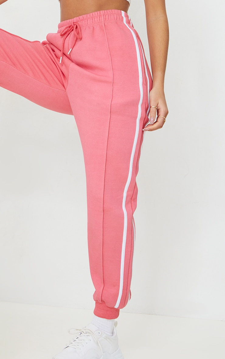 Candy Pink Double Side Stripe Joggers 4