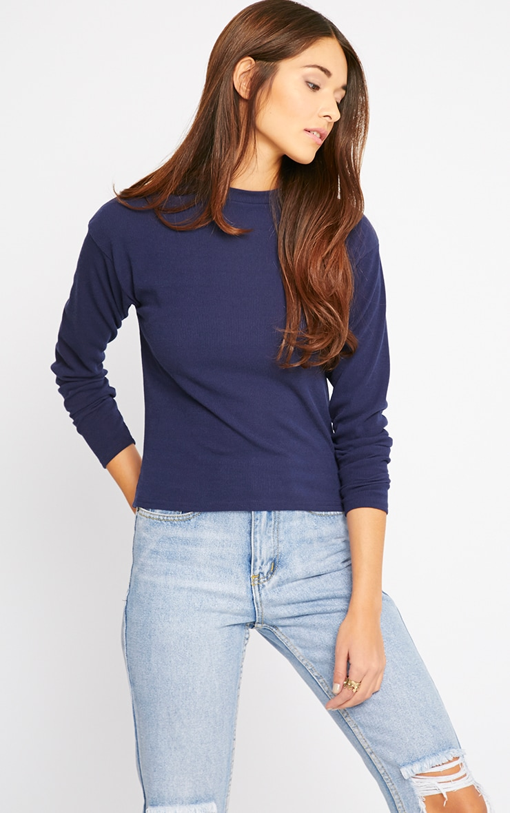 Basic Navy Premium Ribbed Long Sleeve Top 4