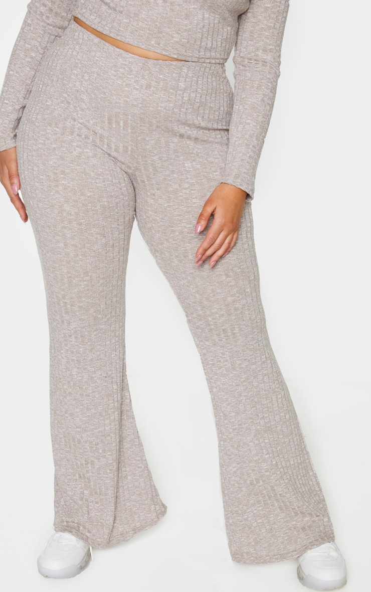 Plus Sand Knitted Ribbed Wide Leg Trouser 3