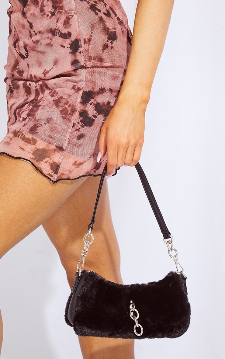 Black Faux Fur Silver Chain Shoulder Bag 1