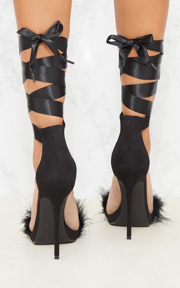 Black Faux Fur Strappy Leg Tie Sandal Shoes