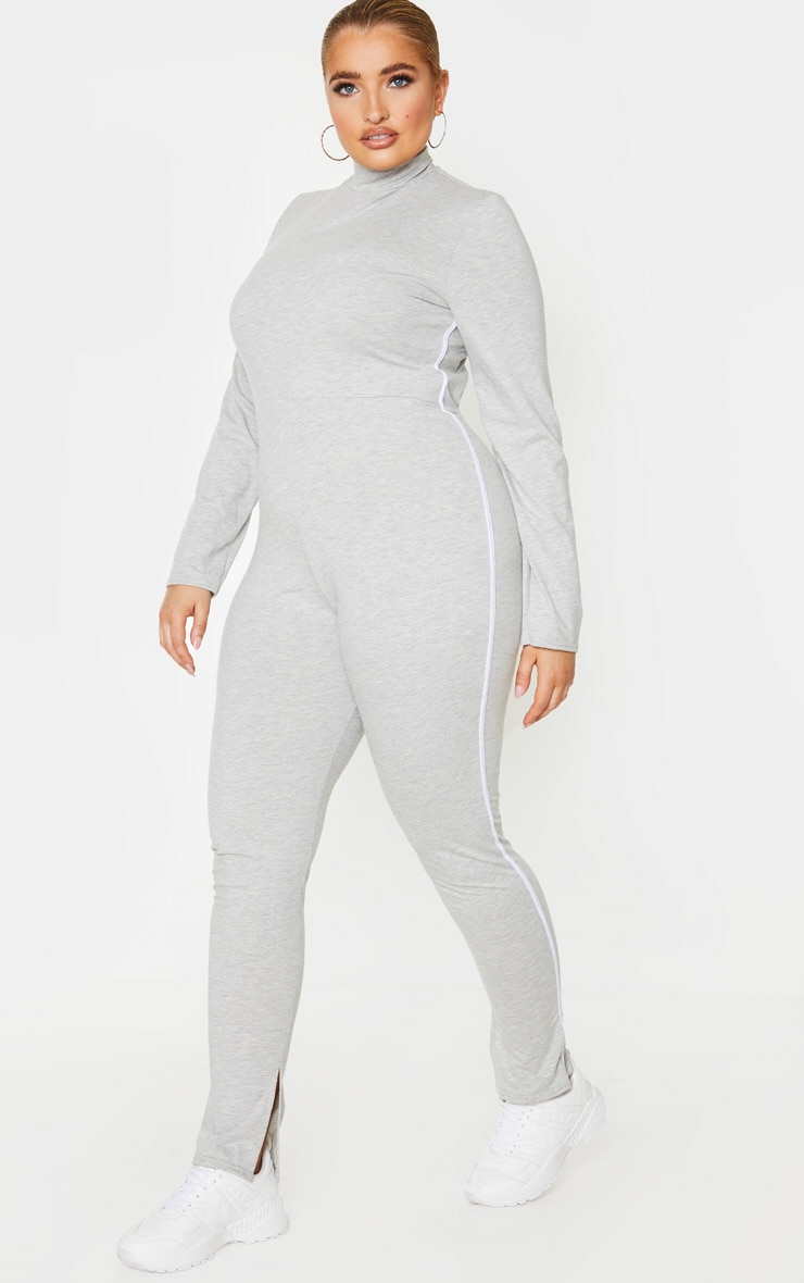 Plus Grey Sports Stripe High Neck Jumpsuit 1