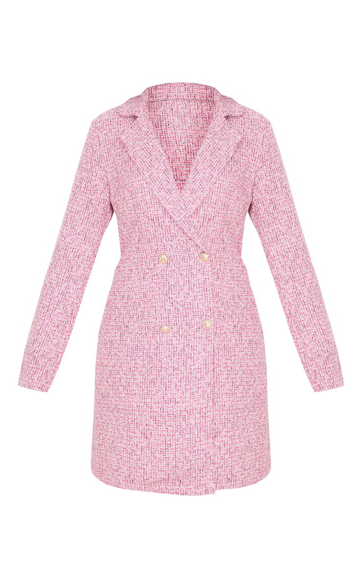 Pink Tweed Gold Button Blazer Dress 4