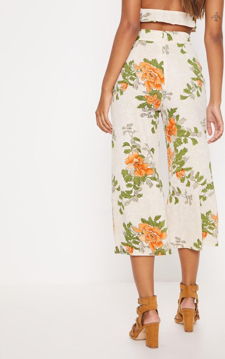 Cream Floral Printed Culotte 4