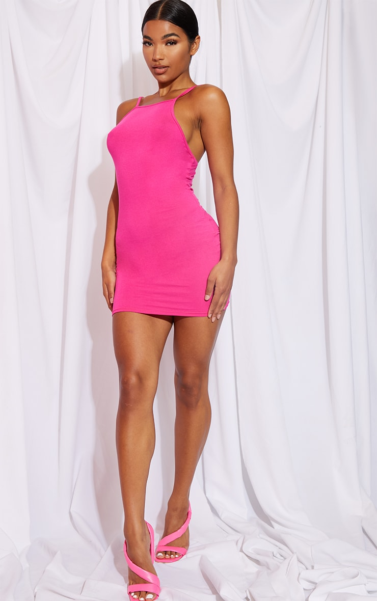 Hot Pink 90s Neck Bodycon Dress 1