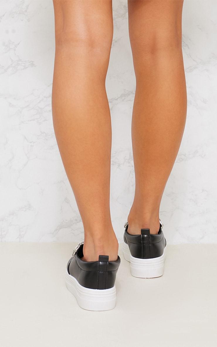 Black Jewel Embellished Flatform Sneakers 3