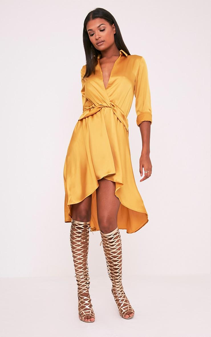 Gabbie Gold Silky Wrap Over Midi Dress 1