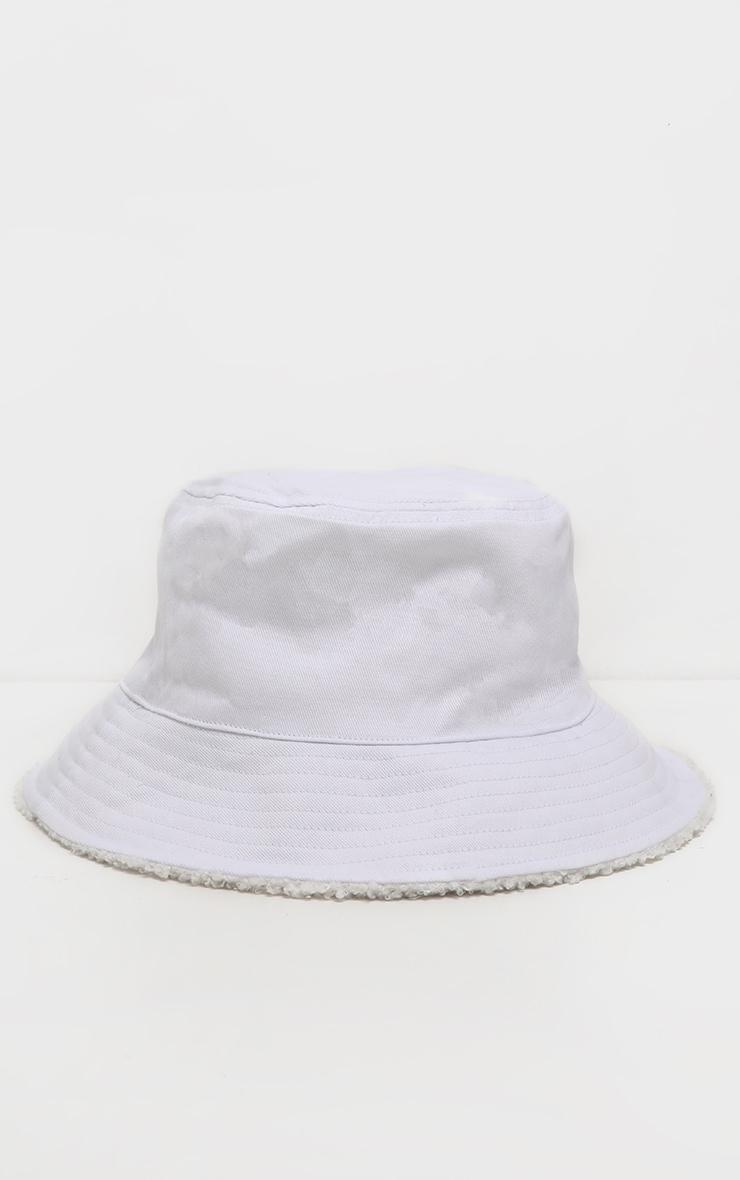 Cream Borg Faux Fur Reversible Bucket Hat 4