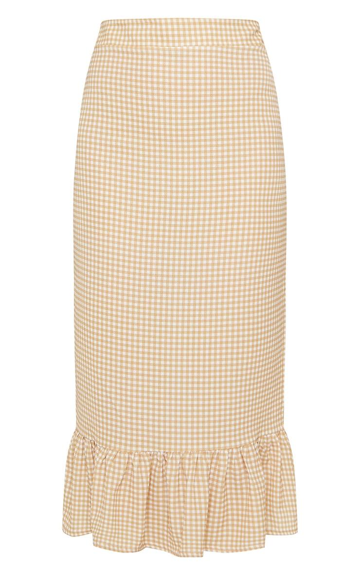 Stone Gingham Frill Hem Midaxi Skirt 5