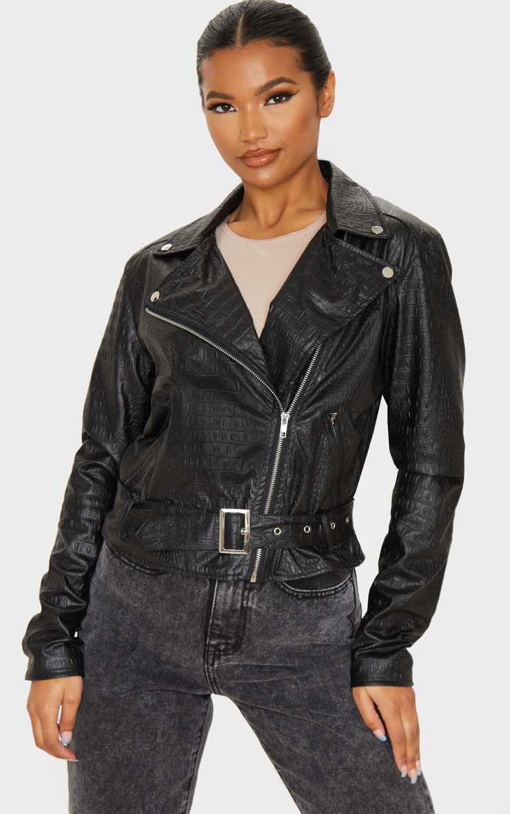 Black Faux Leather Croc Print Biker 4