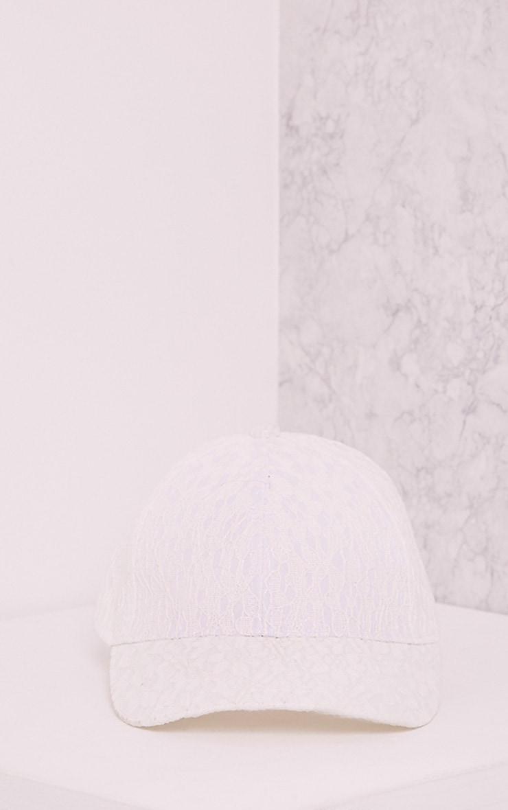 Kalisha White Lace Detail Baseball Cap 6