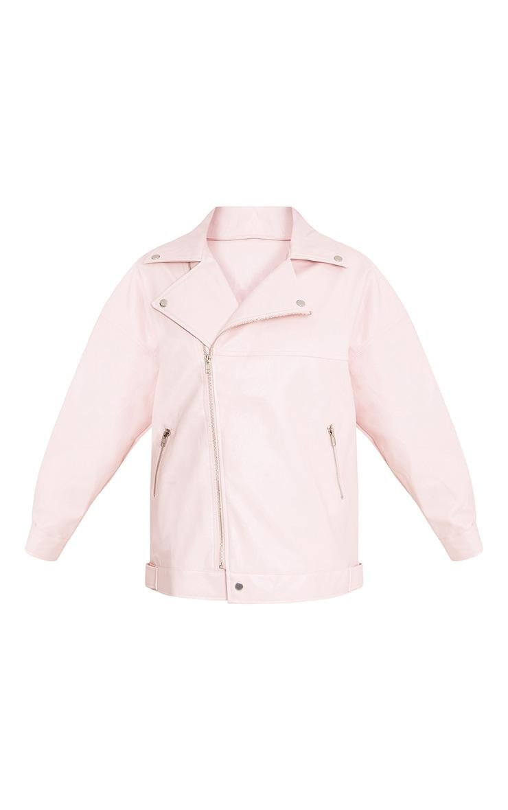 Lakeisha Pink Oversized PU Biker Jacket 3