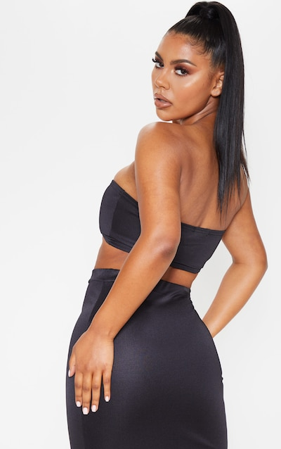 Black High Stretch Bandeau Crop Top