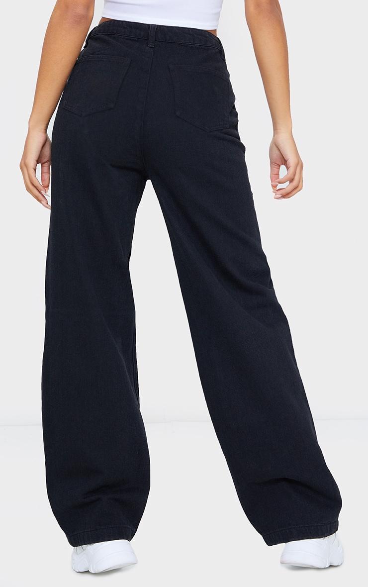 Washed Black Front Cargo Pocket Wide Leg Jeans 3
