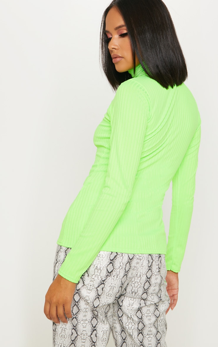Neon Lime Rib Roll Neck Long Sleeve Top 2