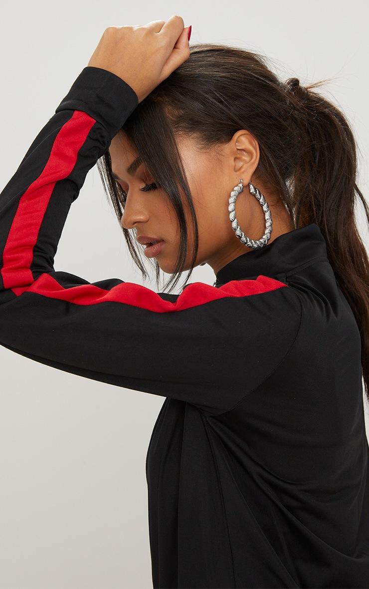 Black Scuba Contrast Stripe Tracksuit Top 5