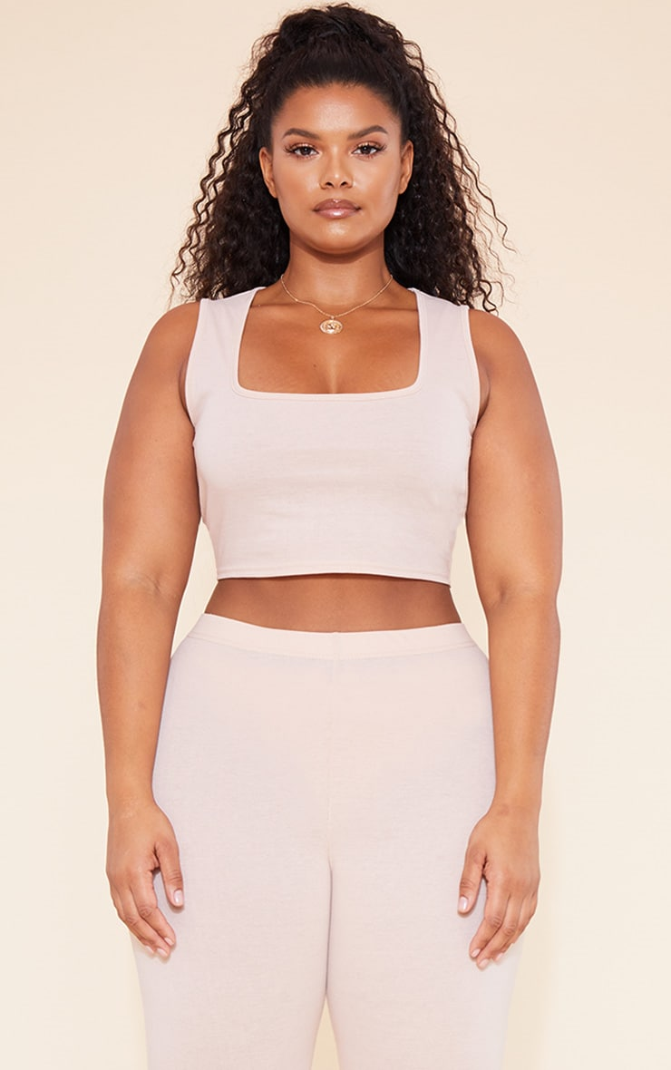 RECYCLED Plus Deep Nude Square Neck Crop Top