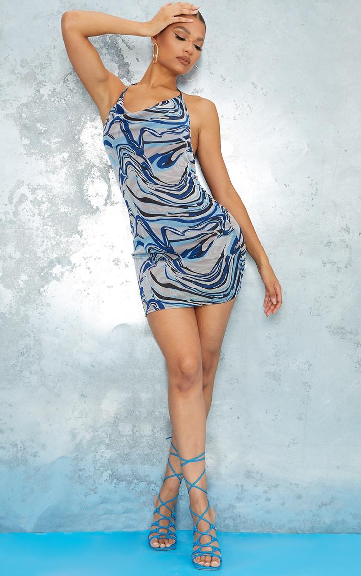 Blue Marble Print Mesh Halterneck Open Back Bodycon Dress 3