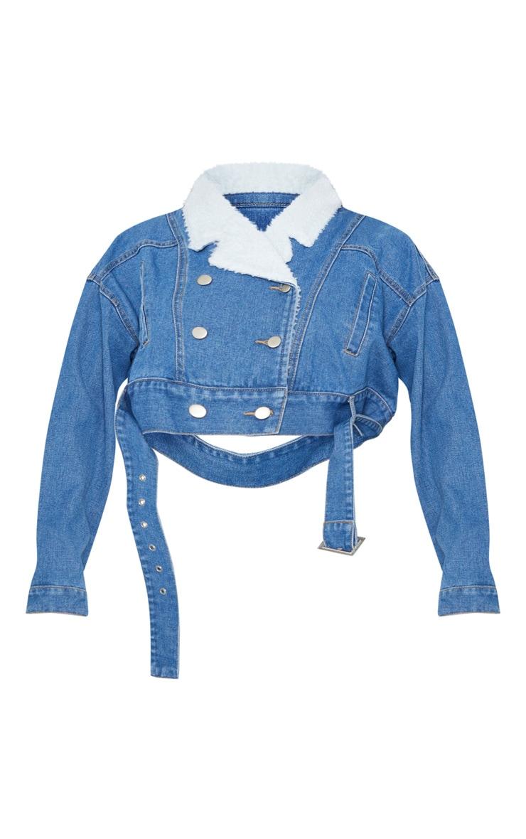 Mid Wash Borg Collar Cropped Denim Jacket 3