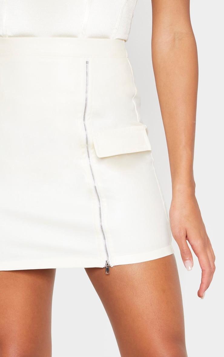 Cream Faux Leather Zip Split Detail Mini Skirt  6