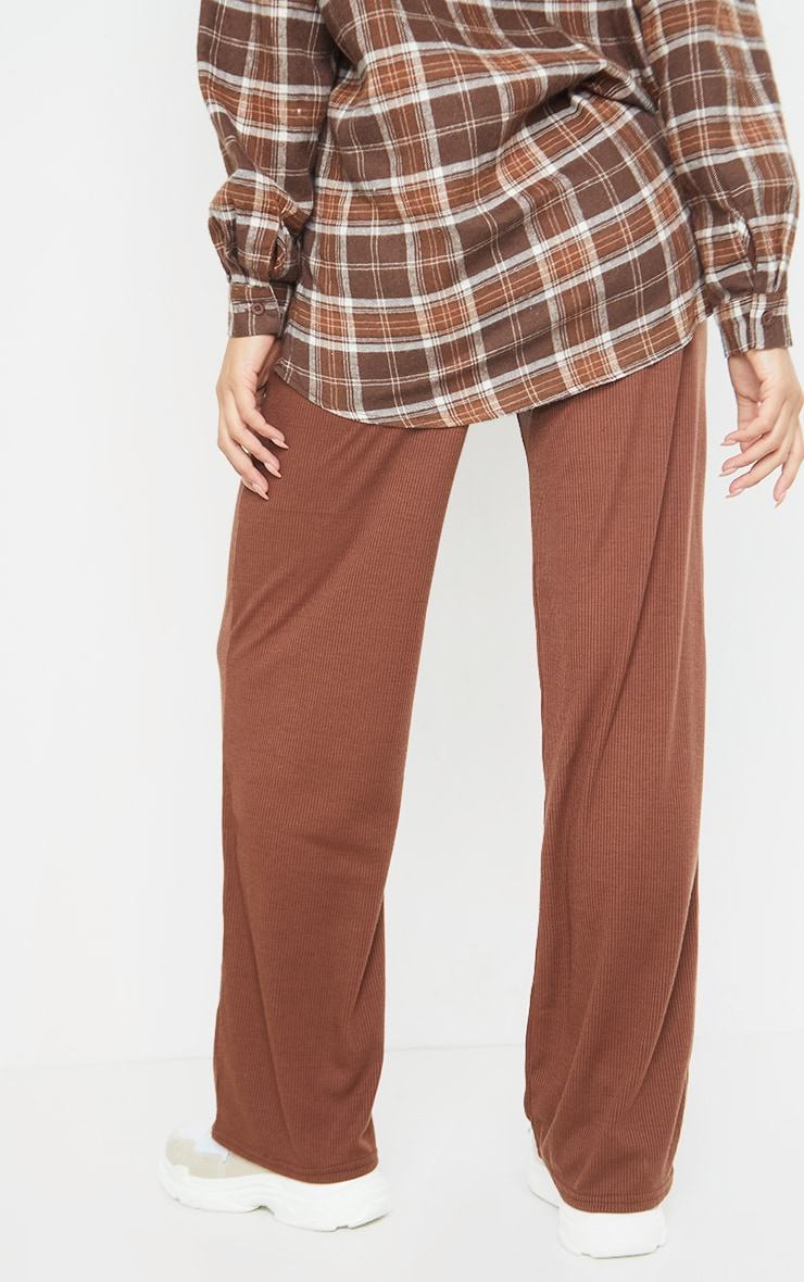 Maternity Chocolate Ribbed Wide Leg Trousers 3
