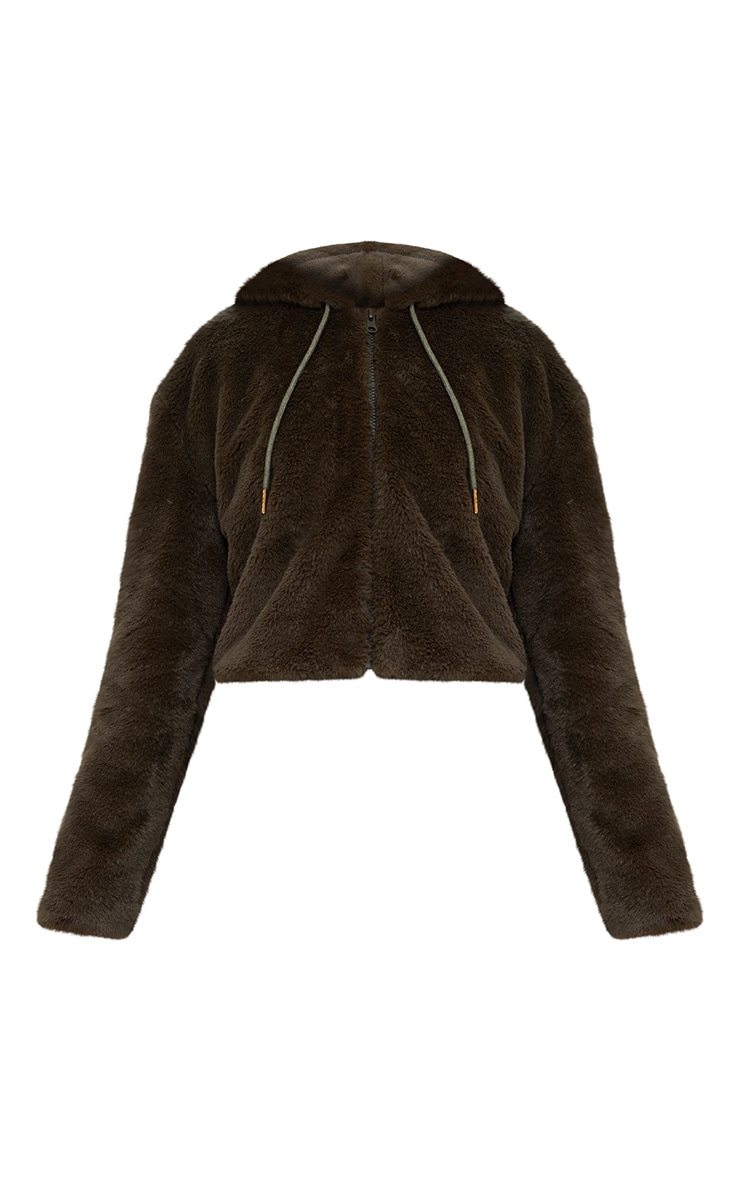 Khaki Cropped Faux Fur Jacket With Hood 3