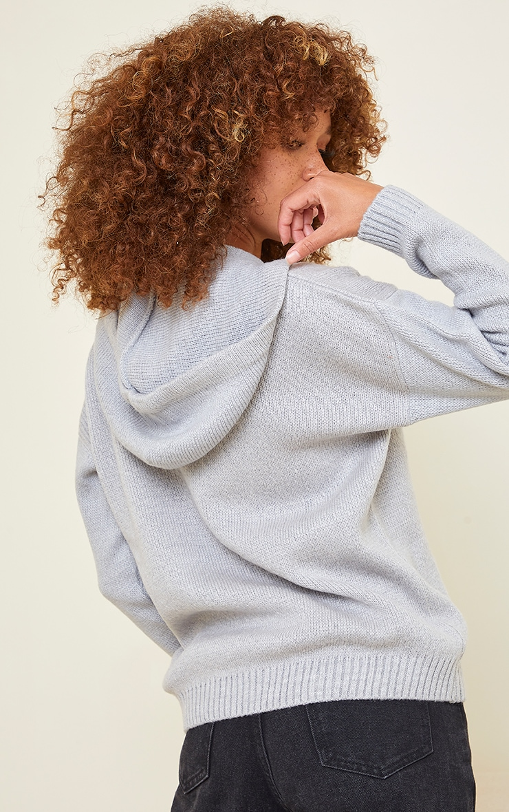 Light Grey Fluffy Oversized Knitted Hooded Sweater 2