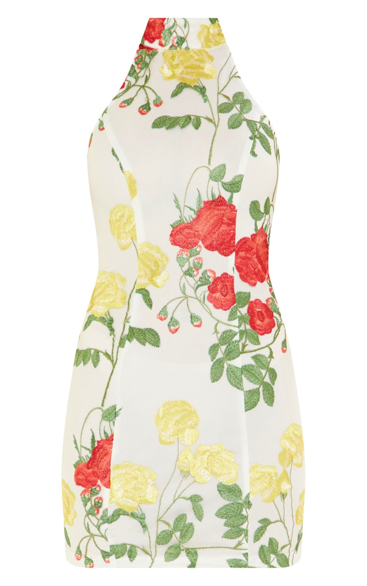 White Floral Embroidered High Neck Bodycon Dress 3