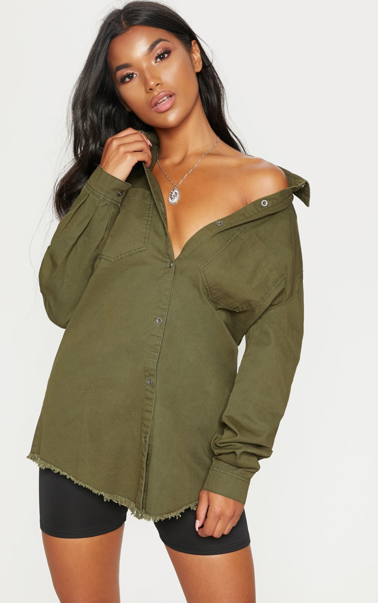 Khaki Frayed Hem Oversized Shirt Dress