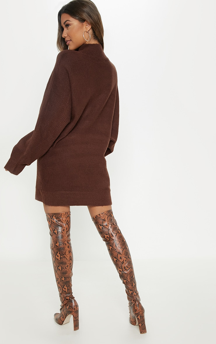 Chocolate Oversized Jumper Dress 2
