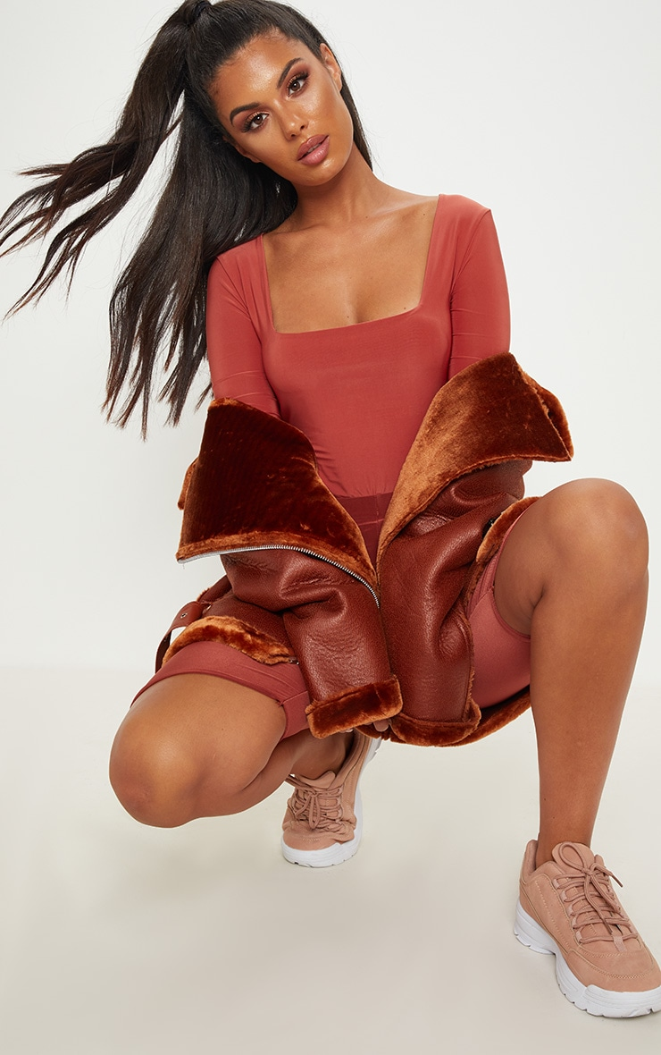 Terracotta Second Skin Square Neck Thong Bodysuit 5