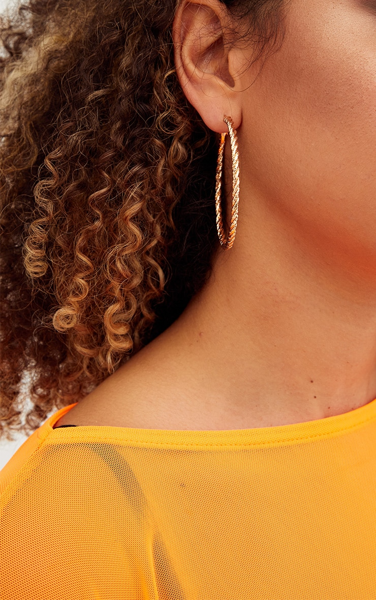 Gold Large Glitter Twisted Hoops 3