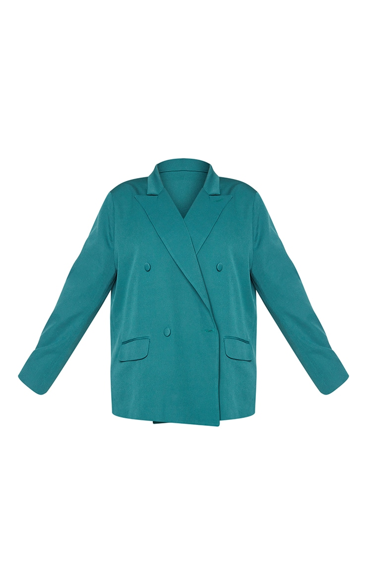 Plus Teal Double Breasted Oversized Blazer 5