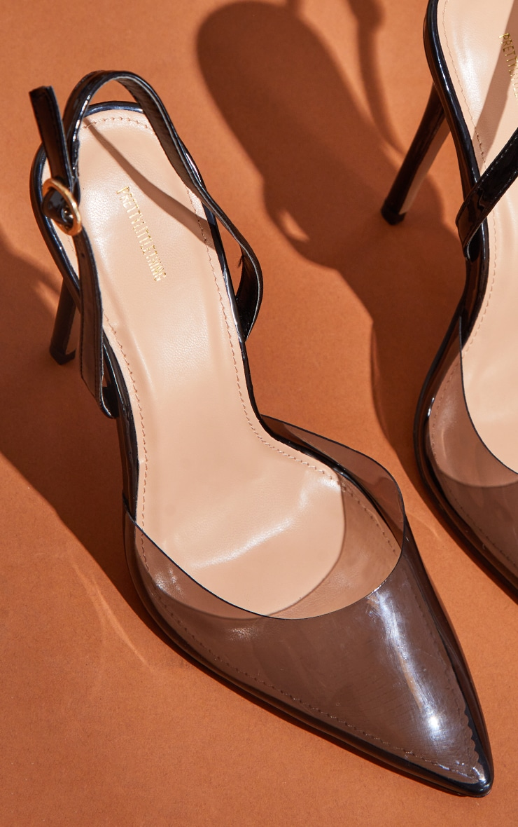Black Smoked Clear Court Heels 3