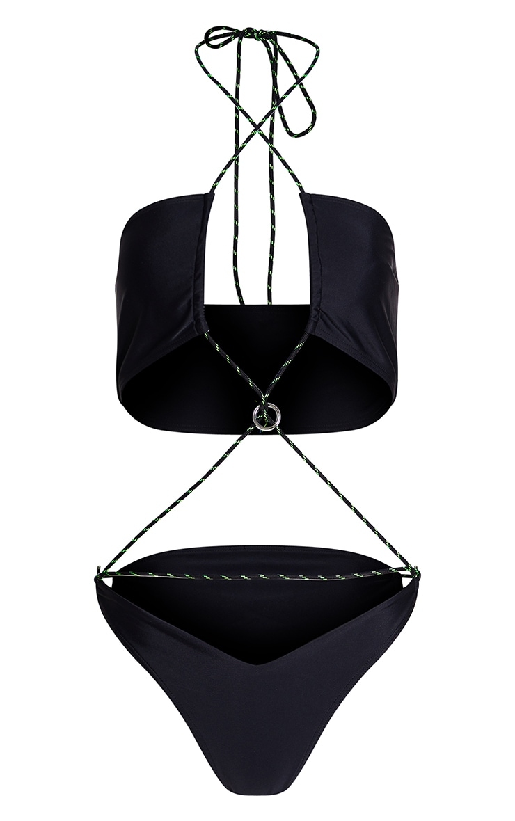 Black Neon Rope Ring Strappy Swimsuit 3