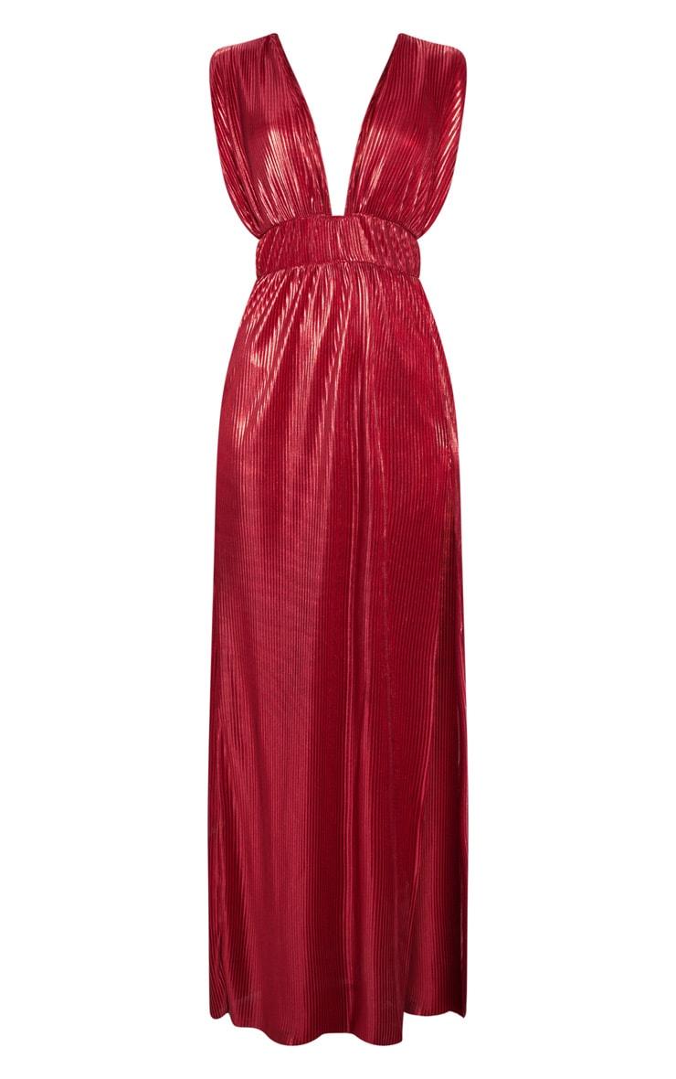 Red Metallic Plisse Plunge Split Leg Maxi Dress 3