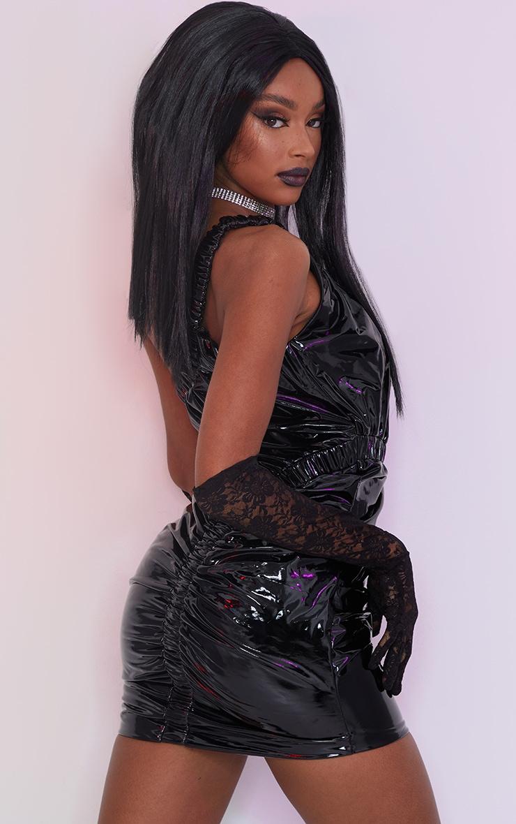 Black Vinyl One Shoulder Asymmetric Ruched Bodycon Dress 2