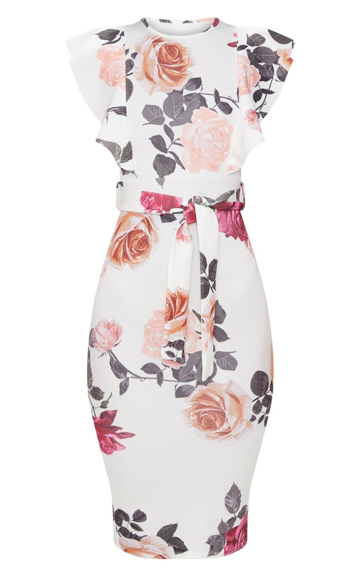 White Floral Print Frill Detail Midi Dress 3