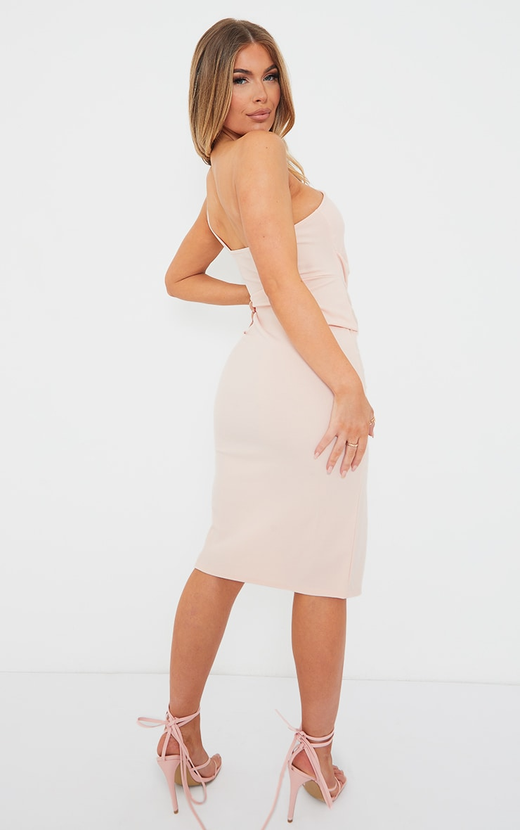 Peach Ruched One Shoulder Midi Dress 2