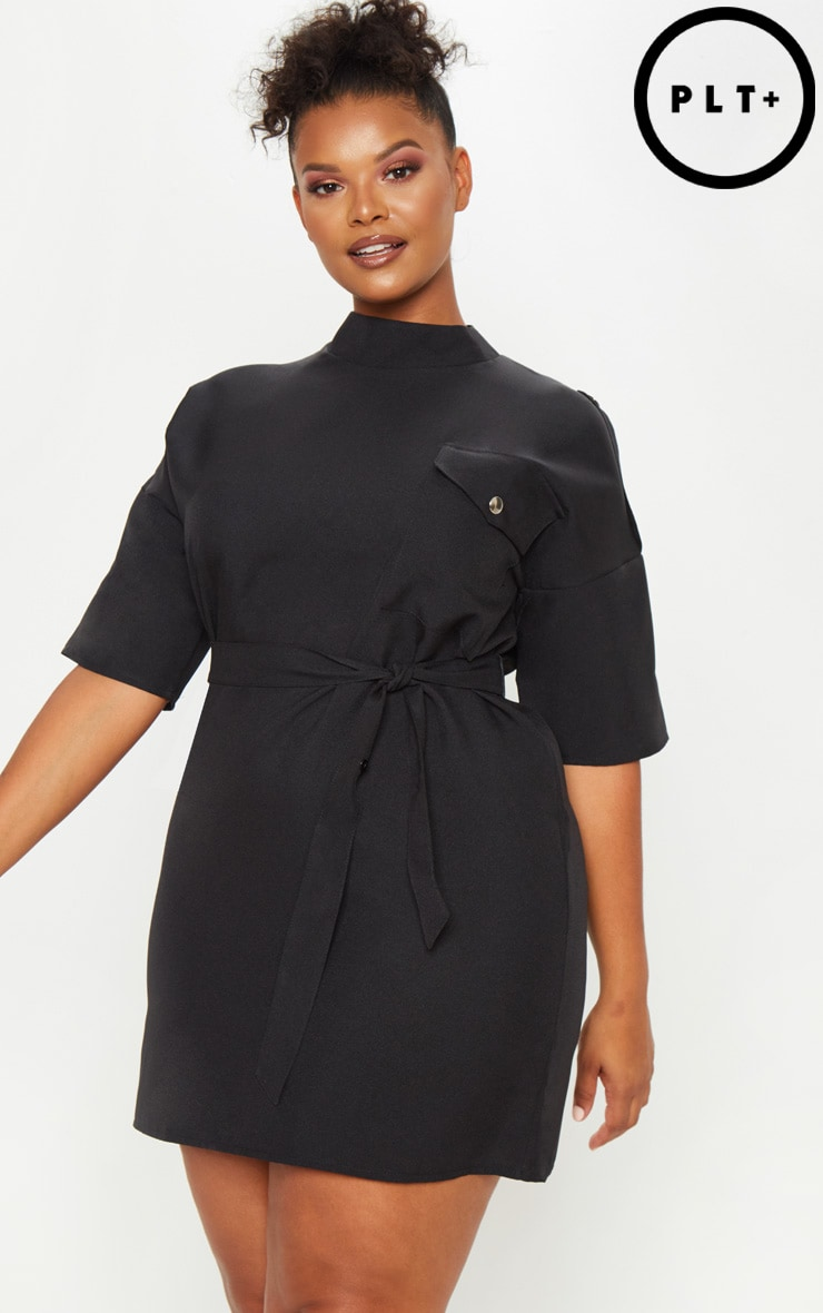 Plus Black Cargo Popper Detail Belted Shift Dress