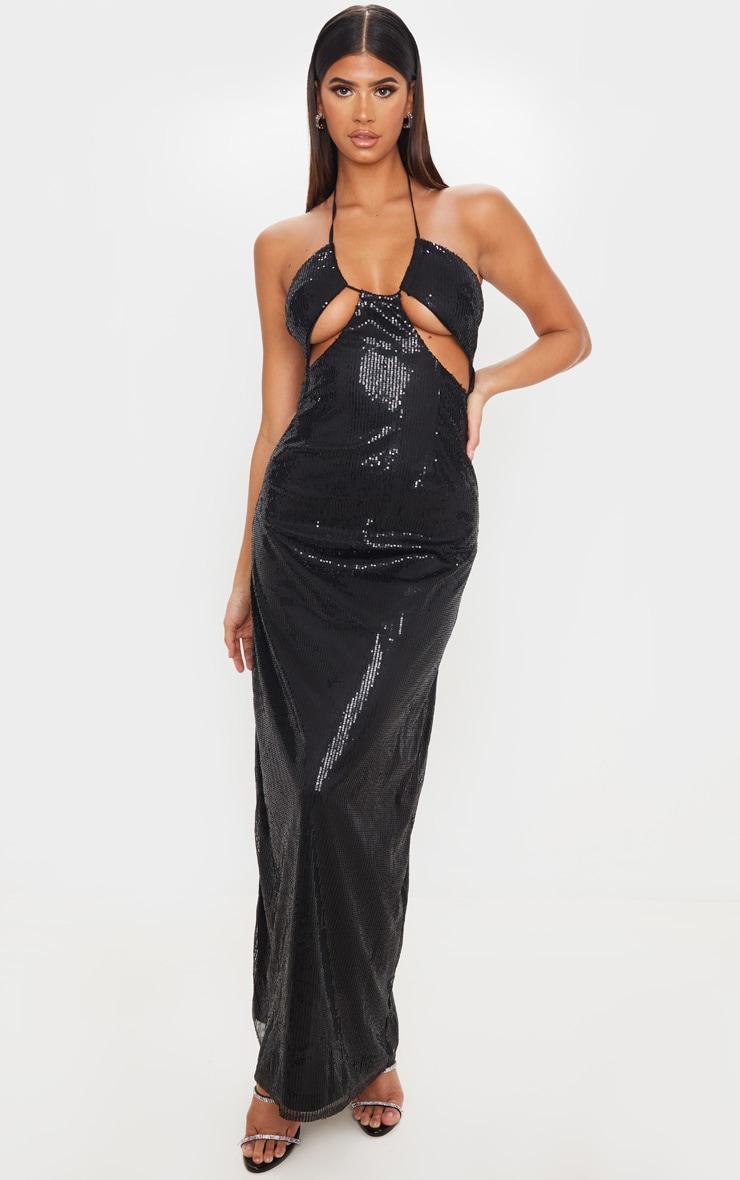 Black Sequin Cut Out Detail Halterneck Maxi Dress 1