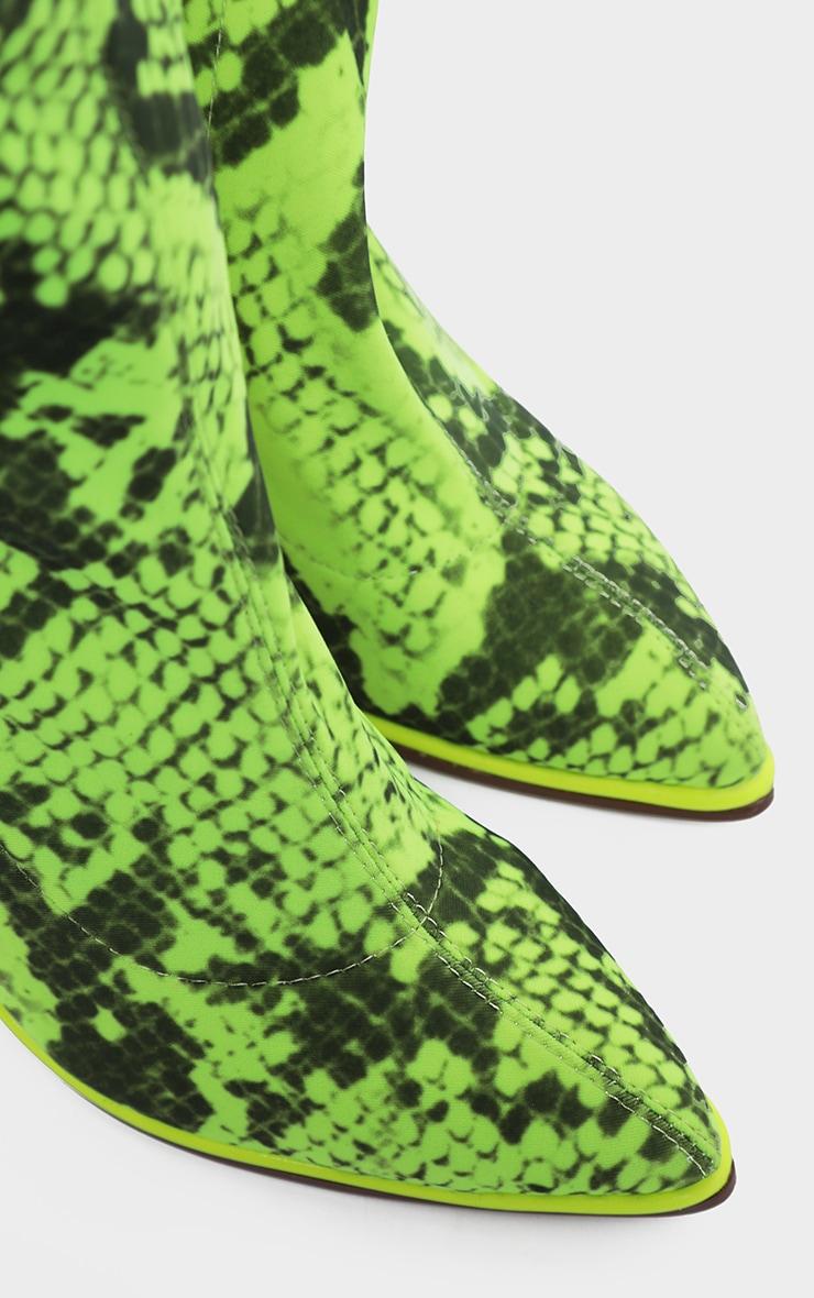 Bottes-chaussettes serpent à liserés contrastants fluo & gros talon 4