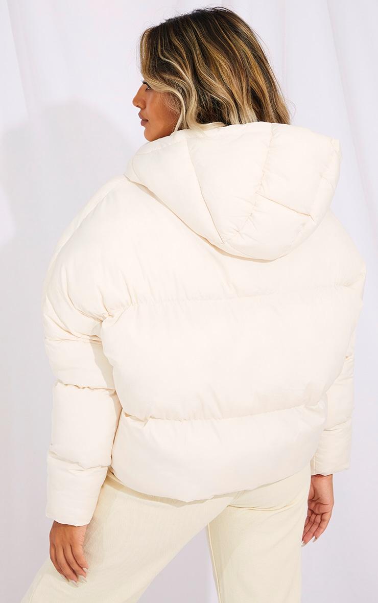 Petite Cream Nylon Oversized Curved Panel Wadded Puffer Jacket 2