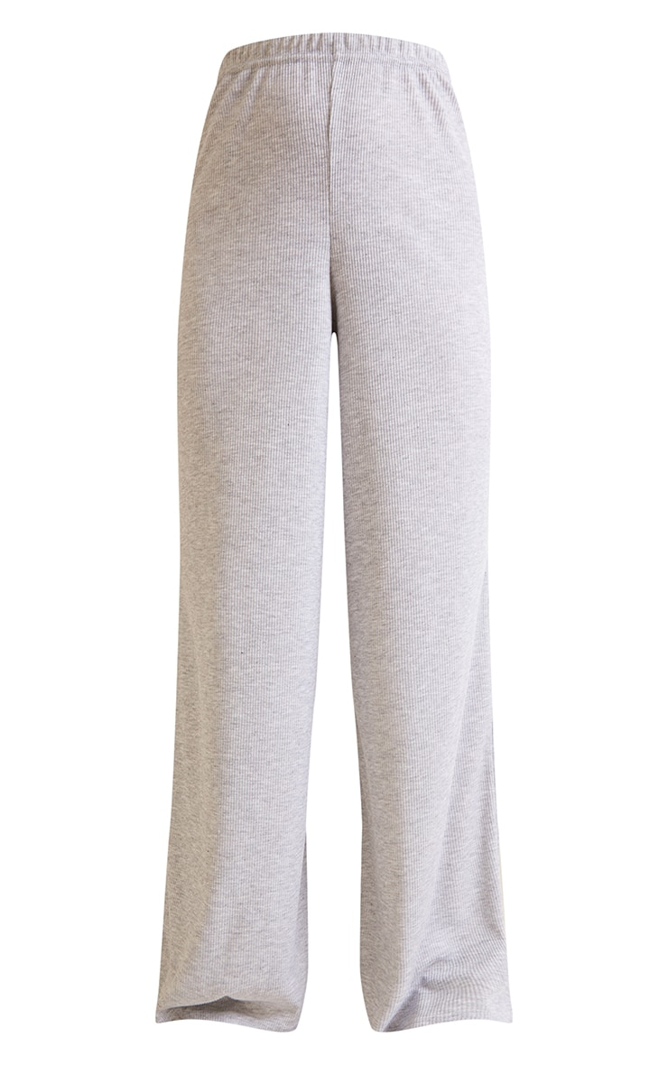 Grey Ribbed Wide Leg Trousers 5