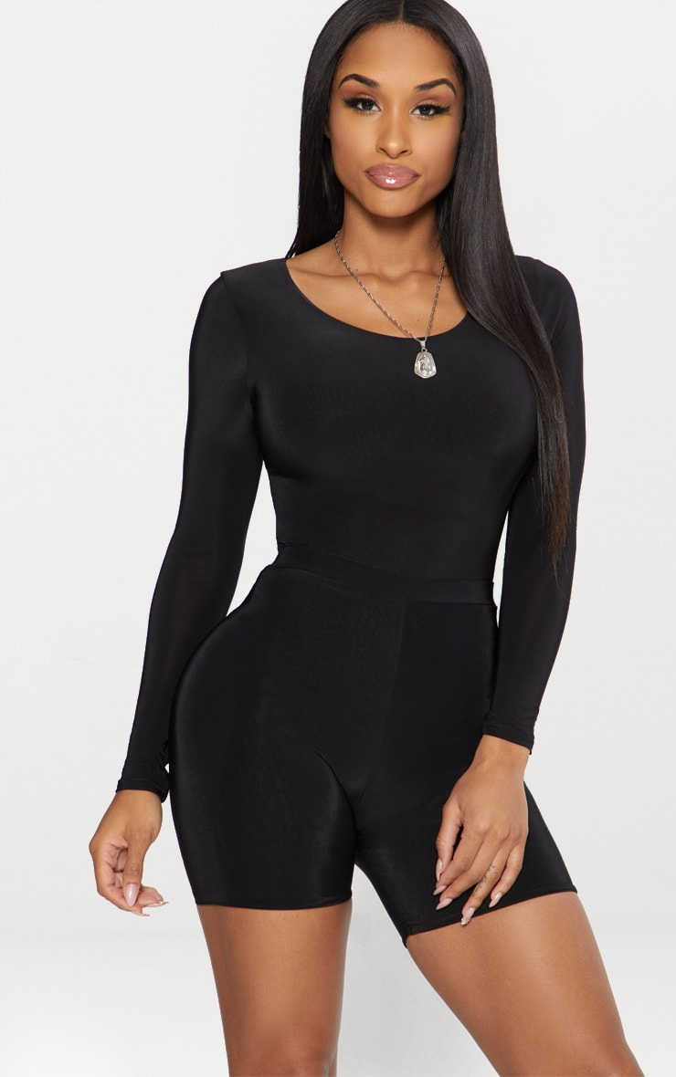 Black Second Skin Long Sleeve Thong Bodysuit 1